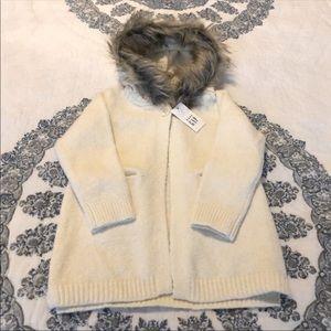 Baby Gap Faux Fur Cardigan 2T Cardi Toddler Hoodie NWT!